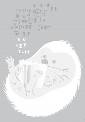 """Zdjęcie pracy Monika Hanulak, """"Tu czytam"""", plakat towarzyszący wystawie"""